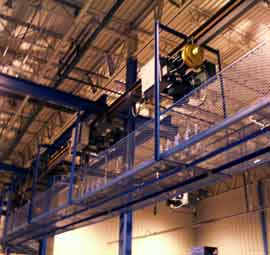 Chemical Dipping Hoist/Carrier over Safety Frame